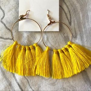 Jewelry - Yellow and gold tassel hoop earrings